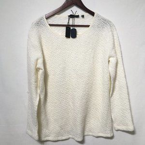 William Rast Cream Knit Sweater With Sheer Back